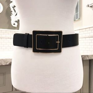 Banana Republic gold and black wide leather belt
